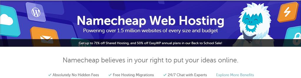 Namecheap hosting homepage