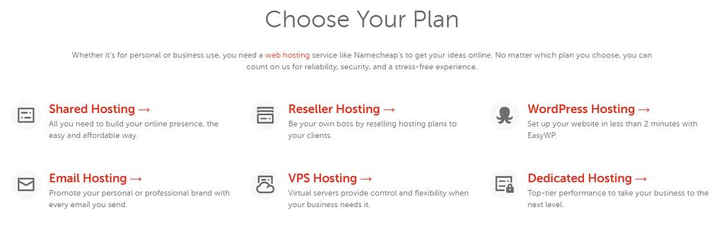 Namecheap hosting plan